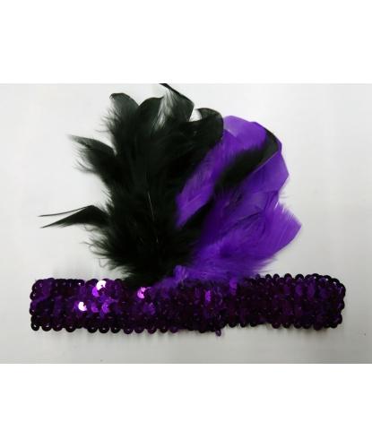 Фиолетовая повязка с перьями Чарльстон: (Италия)