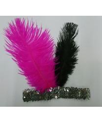 Серебряная повязка со стразом и перьями
