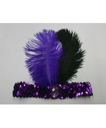 Фиолетовая повязка со стразом и перьями