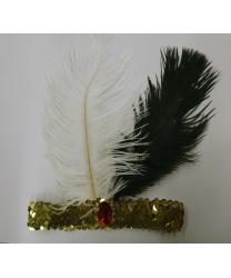Золотая повязка со стразом и перьями