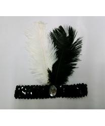 Повязка на голову со стразом и перьями