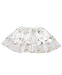 Детская белая юбка в серебряный горошек