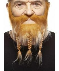 Борода и усы викинга рыжие с сединой