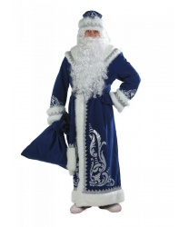 Костюм Деда Мороза, синий с аппликацией