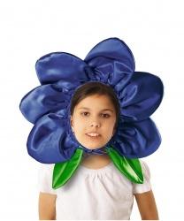 """Шапка """"Цветочек"""" синяя"""