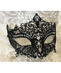 Венецианская черная с блестками маска Giglietto