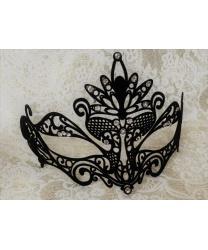 Черная маска Colombina Pavone с бархатистым напылением