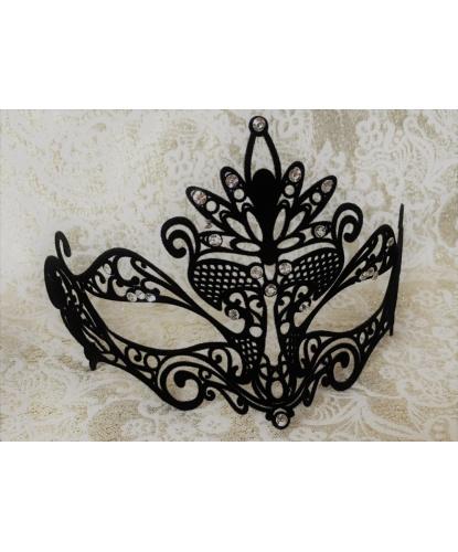 Черная маска Colombina Pavone с бархатистым напылением, стразы, металл (Италия)