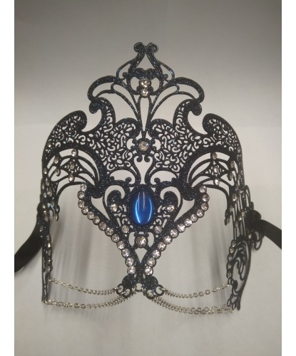 Ажурная маска-диадема, темно-синяя, блестки, стразы, металл (Италия)