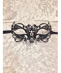 Венецианская черная с блестками маска Ninfea
