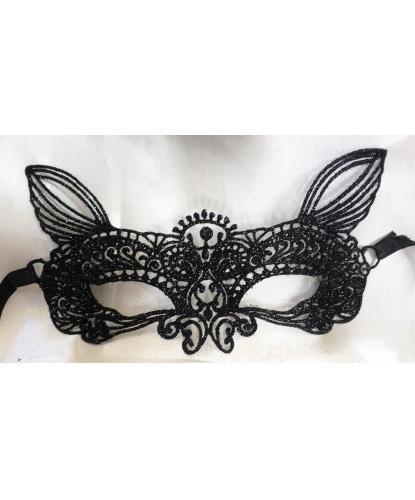 Кружевная, блестящая маска с ушками, кружево, блестки (Италия)