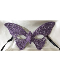Кружевная маска Бабочка, сиреневая с блестками, кружево, блестки (Италия)