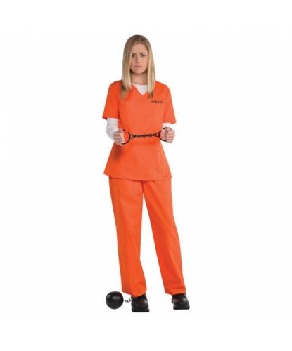 Костюм заключенной, оранжевый: футболка, штаны (Германия)