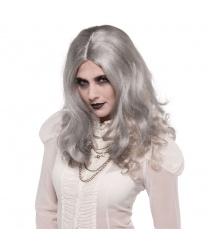 Женский парик Зомби: седой, серый (Германия)
