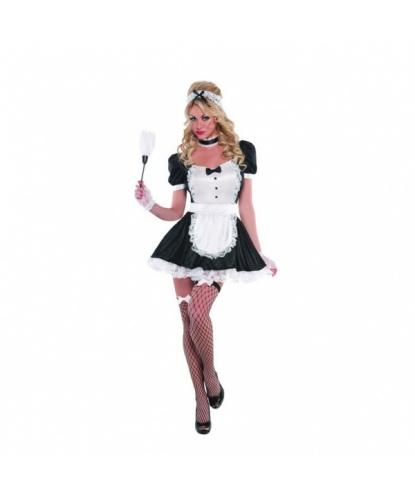 Костюм дерзкой горничной: платье, чокер, повязка на голову, чулки, перчатки (Германия)