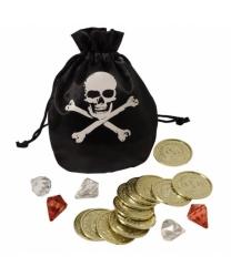 Пиратский кошель с монетами и камнями