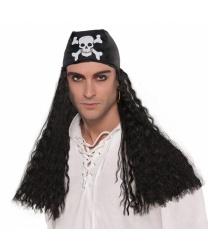 Черная пиратская бандана с волосами