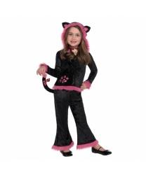 Костюм черной кошечки с розовой опушкой