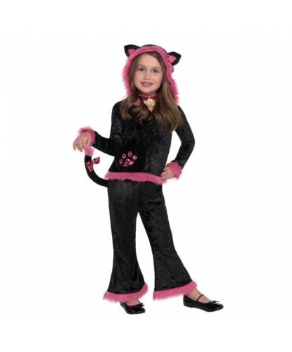 Костюм черной кошечки с розовой опушкой: кофта с капюшоном, штаны, чокер (Германия)