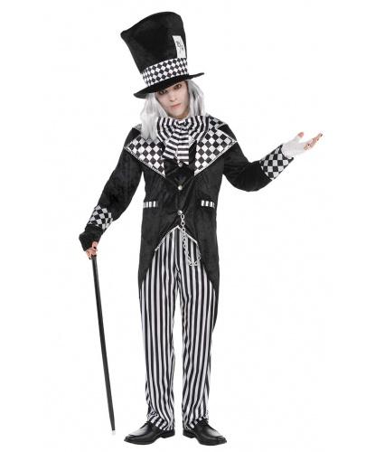 Черно-белый костюм Безумного Шляпника: пиджак со вшитой жилеткой, манишка с бантом, брюки, перчатки, шляпа (Германия)