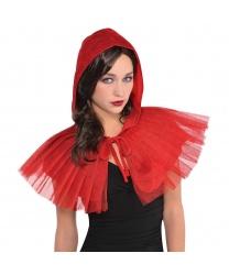Красный бархатный капюшон с воротником