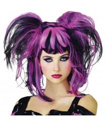 Черно-розовый парик