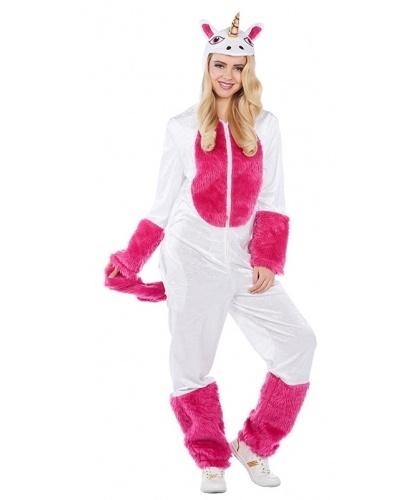 Женский костюм Бело-розовый единорог: комбинезон с капюшоном (Германия)