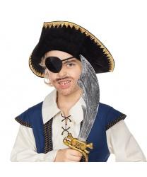 Детская пиратская треуголка с золотой каймой