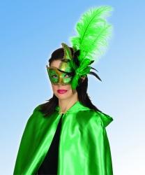 Ассиметричная золотая маска с зелеными перьями