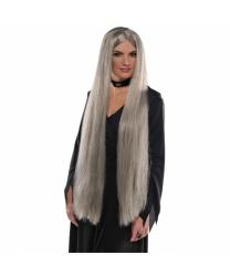 Длинный серый парик ведьмы