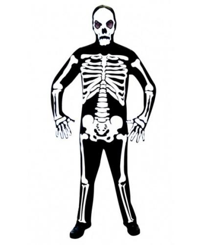 Мужской костюм Скелет: комбинезон, маска, перчатки (Германия)