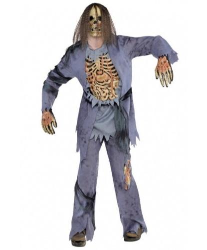 Мужской костюм Зомби-скелет: кофта, брюки, перчатки, маска (Германия)