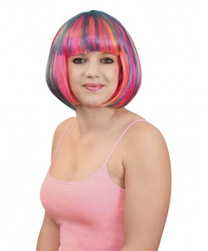 Разноцветный парик-каре: радужный (Германия)