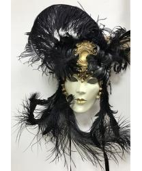 Венецианская маска Barocco bouquet, кружево, блестки, папье-маше, перья (Италия)
