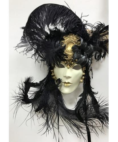 Венецианская маска Barocco bouquet, папье-маше, перья, кружево, блестки (Италия)
