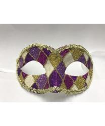 Карнавальная маска Arlecchino c золотой тесьмой (фиолетово-розовая), тесьма, блестки, пластик (Италия)