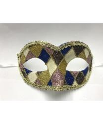Карнавальная маска Arlecchino c золотой тесьмой (синяя)