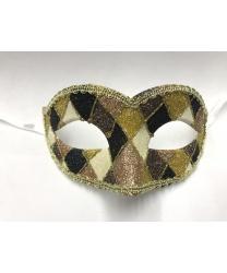 Карнавальная маска Arlecchino c золотой тесьмой (коричнево-золотая)