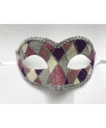 Карнавальная маска Arlecchino c серебряной тесьмой (фиолетово-розовая)
