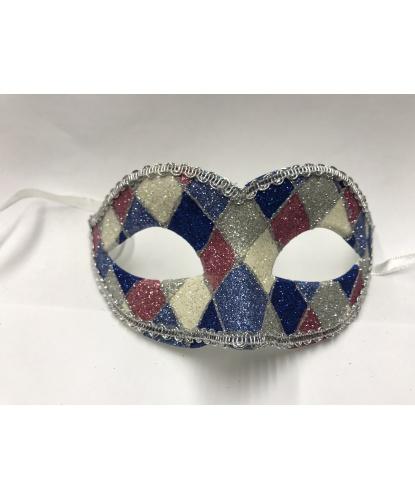 Карнавальная маска Arlecchino c серебряной тесьмой (голубая), тесьма, блестки, пластик (Италия)