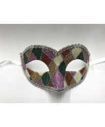 Карнавальная маска Arlecchino c серебряной тесьмой (зеленая)