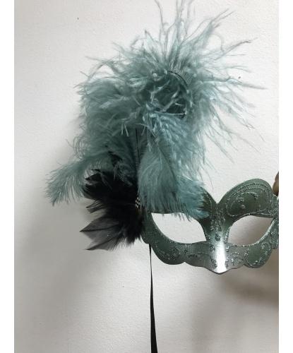 Карнавальная маска с перьями (серо-мятная), блестки, стразы, папье-маше, перья (Италия)