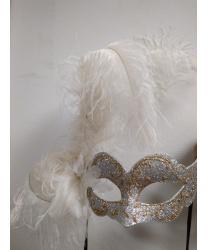 Карнавальная маска с перьями (серебро)