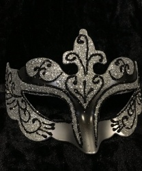 Карнавальная маска с блестками (серебряная)
