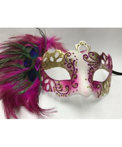 Карнавальная маска PAVONE с розовыми перьями, блестки, стразы, пластик, перья (Италия)