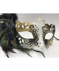 Карнавальная маска PAVONE с павлиньими перьями