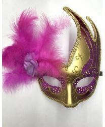 Карнавальная маска ассиметричная с розовыми перьями