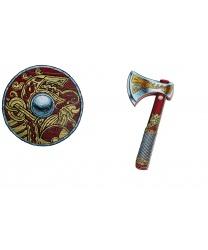 Щит и топорик викинга, диаметр щита 35 см, длина топора 32 см, EVA (пенистый материал) (Дания)