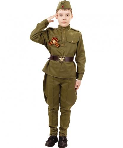 Костюм солдата с брюками галифе: гимнастерка, брюки, ремень, пилотка, ленточка (Россия)