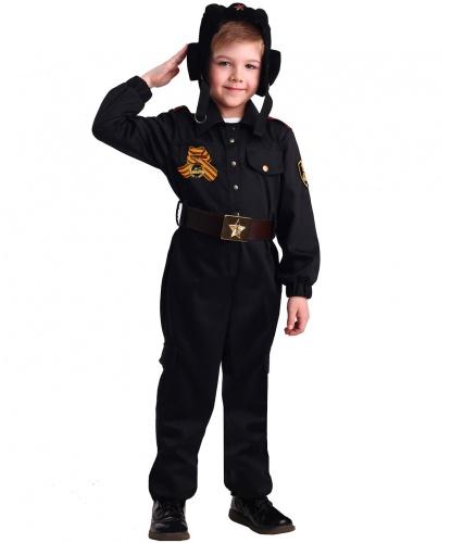 Костюм военного танкиста: куртка, брюки, ремень, шлем и орден (Россия)